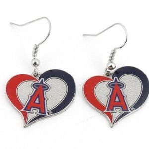 Los Angeles Angels of Anaheim Swirl Heart Earrings